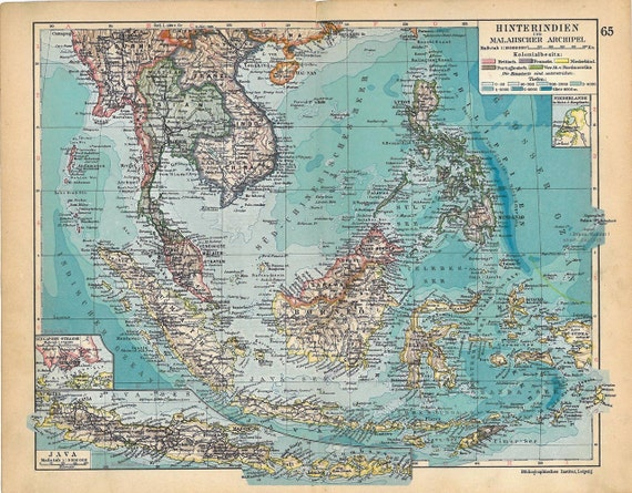 1928 East India Islands Vintage  Map South East Asia Philippines