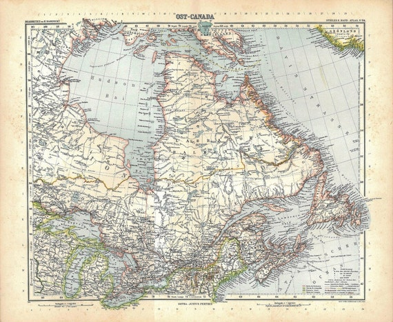 1912 Eastern Canada  Map Antique