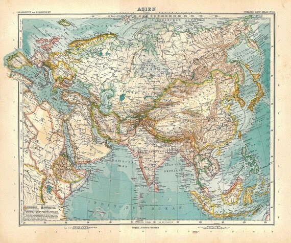 Asia Antique Map 1914 Stieler