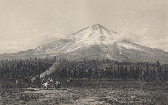 "Picturesque America ""Mount Shasta""  California 1895 Steel  Engraving"