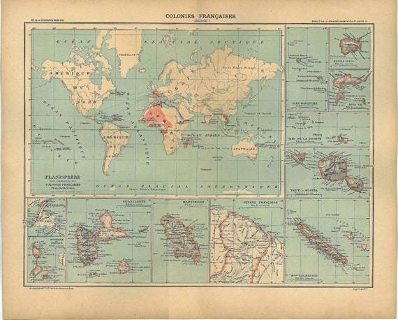 Vintage World Map 1889 French Colonies