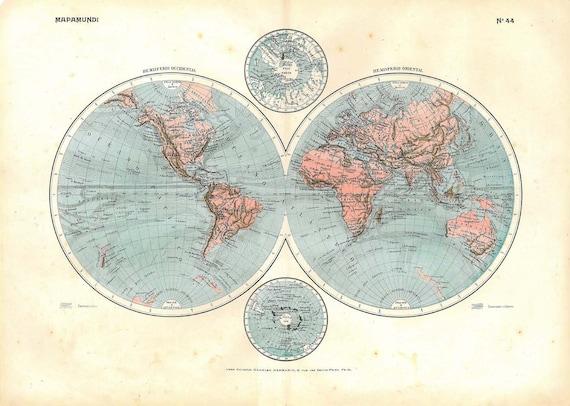 Vintage World  Map  Double Hemisphere  Poles 1910s