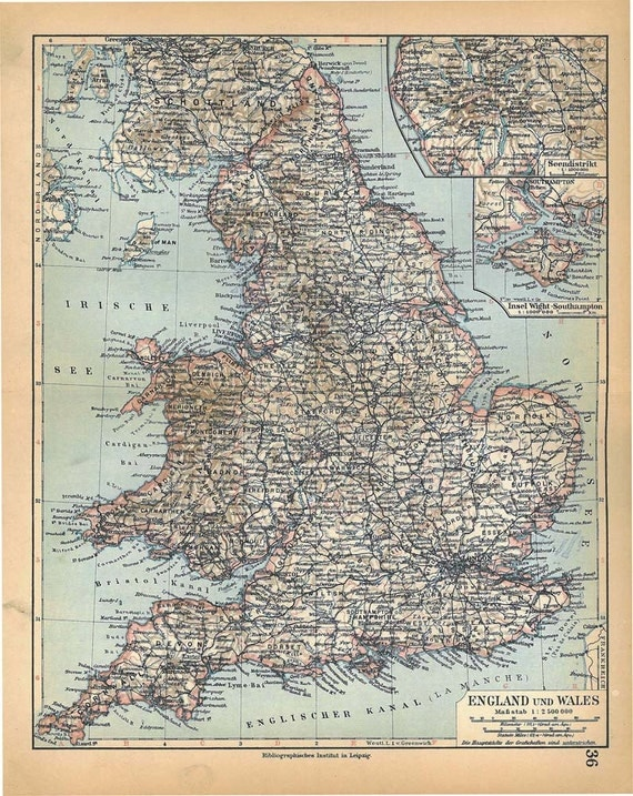 1928 England Wales Vintage Map Wall Decor To By