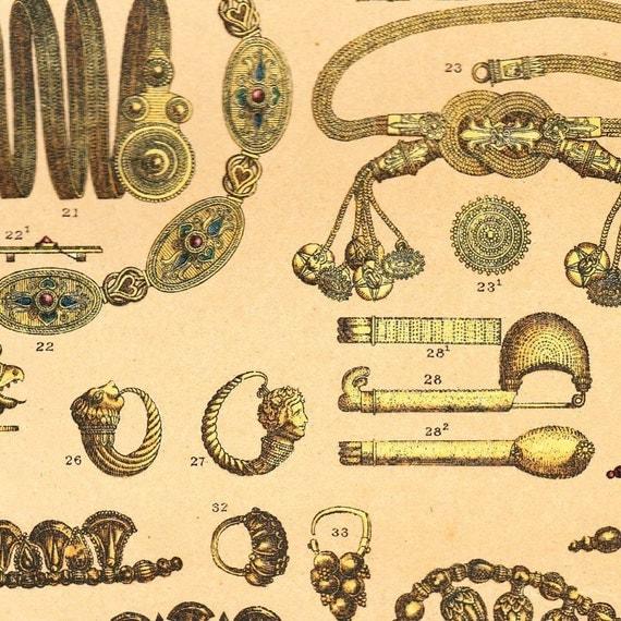 Chromolithograph Ancient Greek Costumes Antique Plate 1894
