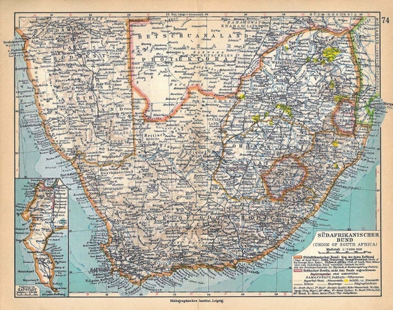 Vintage Map  South Africa 1928 to Frame Wall Decor