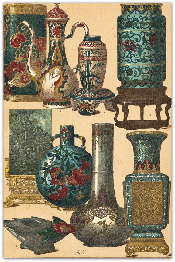 Chinese  Art and Artifacts Antique Print Vases Teapot Color Lithograph 1894 Hottenroth