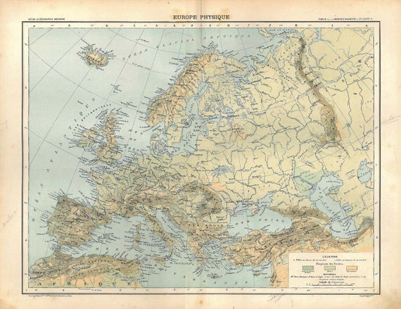 1889 Europe Physical Map Vintage