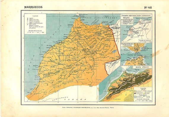 Vintage  Map Morocco 1910s to Frame Wall Decor