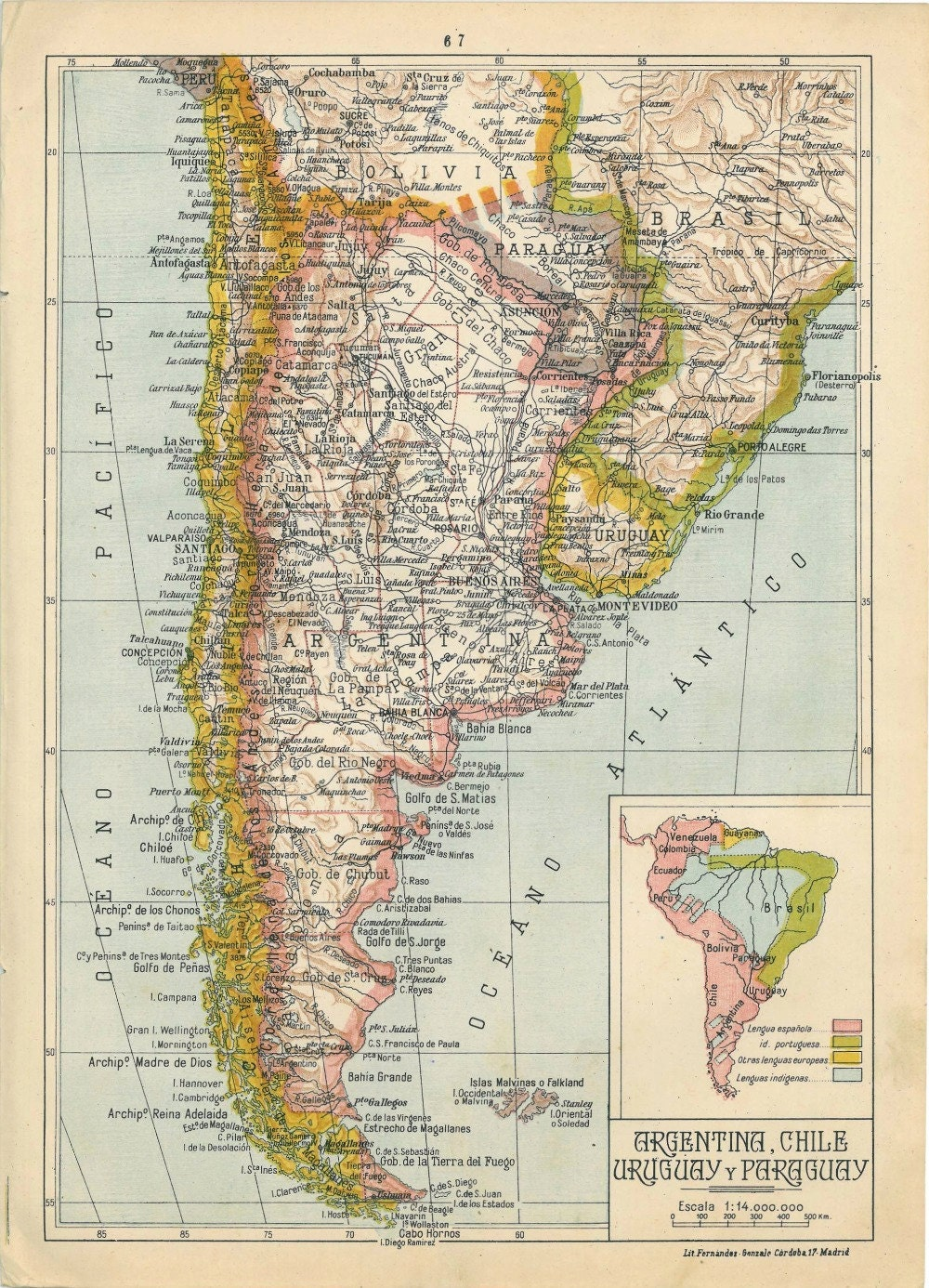 1942 physical map of argentina chile uruguay and paraguay