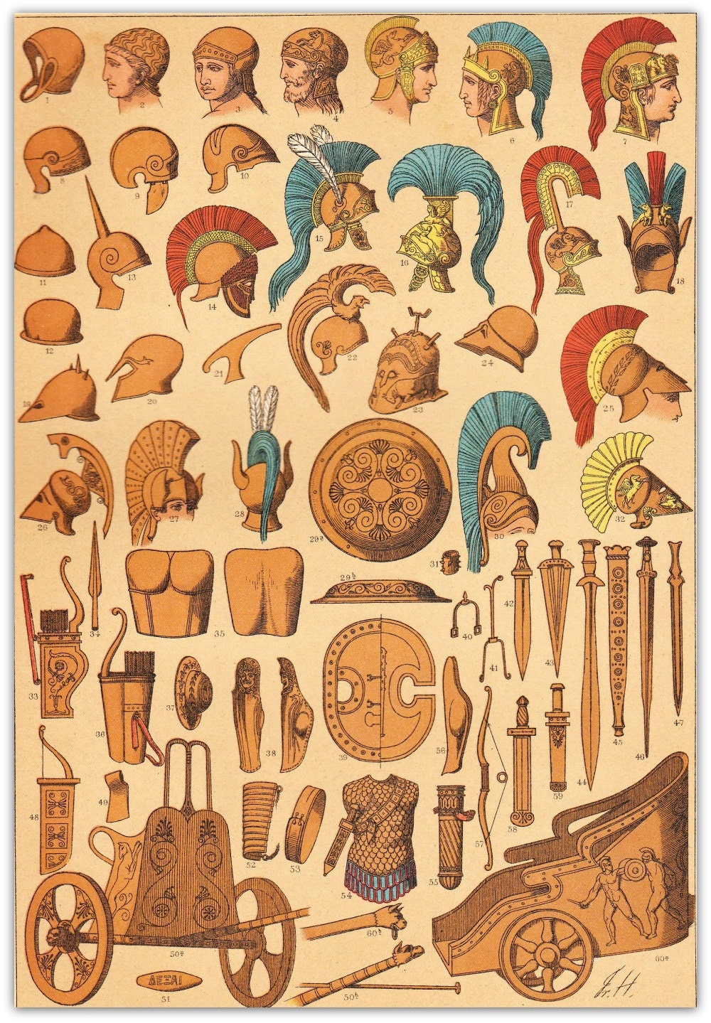 Ancient Greek Weapons and Carts Chromolithograph 1894