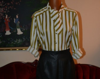 Ambiva Striped Cream and Olive Blouse