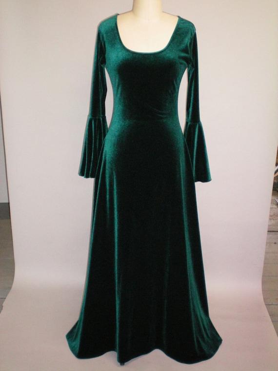 Medieval Renaissance Scoop Neck Dress Green Stretch Velvet