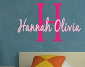 Monogram Name Childrens Vinyl Wall Decal   EXTRA LARGE