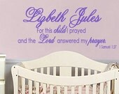 Wall Decal MONOGRAM For this child I prayed Children Wall Decal Art Personalized Childrens Art Scripture EXTRA LARGE