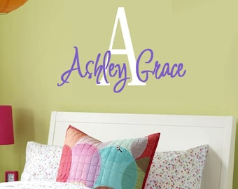 Wall Decal Monogram Name Childrens Vinyl Wall Art