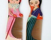 Vintage style painted peach wood chinese hair combs set of 2
