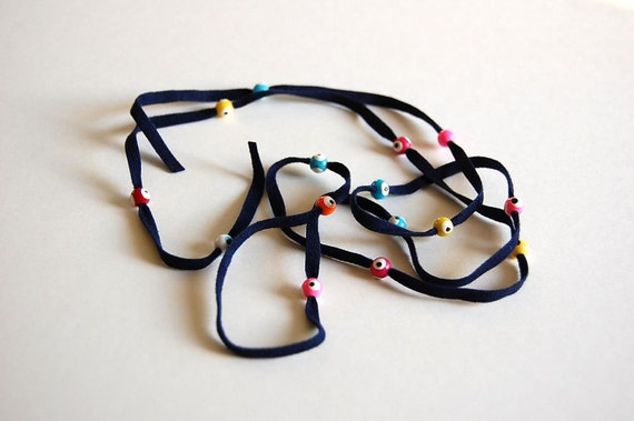 """1 meter of faux suede cord with """"nazar boncugu"""" beads amulets evil eye"""