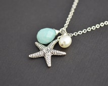 SALE , Starfish Nautical Pearl, Blue Opal, Silver Necklace, Bridal, Bridesmaid, Mothers, Anniversary, Teacher Gift, Mother's Day Gift