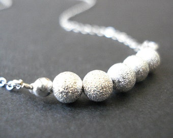 Sparkled silver ball beaded necklace, Silver bead necklace, Ball necklace, Beaded necklace, Silver necklace, 925 Sterling silver