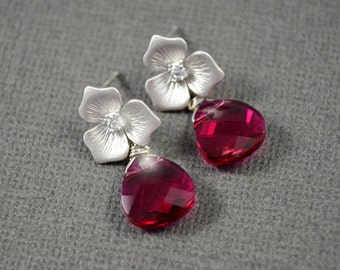 SALE, Three petal flower silver posts and fuchsia crystal earrings, Ruby earrings, Stud earrings, Flower earrings, Wedding jewelry,Swarovski