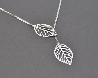 10% OFF, Modern leaf necklace, Lariat necklace, Silver necklace, Statement necklace, Bridal necklace,Mother's Day Gift,Christmas gift,Silver