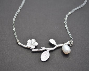 10% OFF, Silver flower branch necklace, Silver necklace, Flower necklace,Pearl necklace,Wedding jewelry,Bridal necklace,Gift,Christmas gift