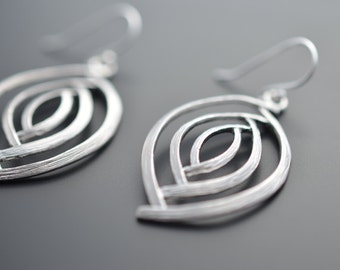 10% OFF, Modern earrings, Marquise earrings, Silver Earrings, Clip earrings,Christmas gift,Valentines gift,Dangle earrings,Wedding earrings