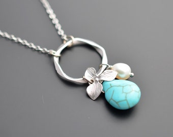 10% OFF, Turquoise necklace, Orchid necklace, Flower necklace, Pearl necklace, Silver Necklace,Wedding,Bridesmaid,Anniversary,Christmas gift