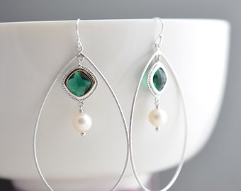 30% OFF Emerald green earrings,Pearl earrings,Teardrop earrings,Silver earrings,Wedding earrings,Clip earrings,Bridal jewelry,Christmas gift