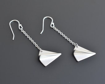 30% OFF, Paper airplane silver earrings, Dangle earrings, Personalized, Christmas Gift, Gift for her, Clip earrings, Non pierced earrings.