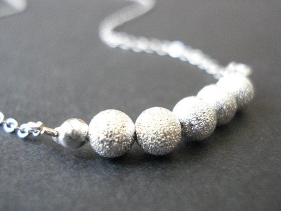 40% SALE, Sparkled silver ball beaded necklace, Silver bead necklace, Ball necklace, Beaded necklace, Silver necklace, 925 Sterling silver