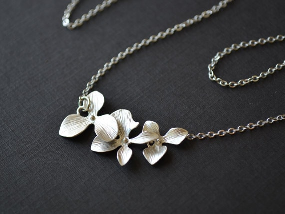 40% OFF, Orchid necklace, Flower necklace, Wedding jewelry, Bridesmaid gift, Flower girl, Silver necklace, Bridal jewelry, Necklace set