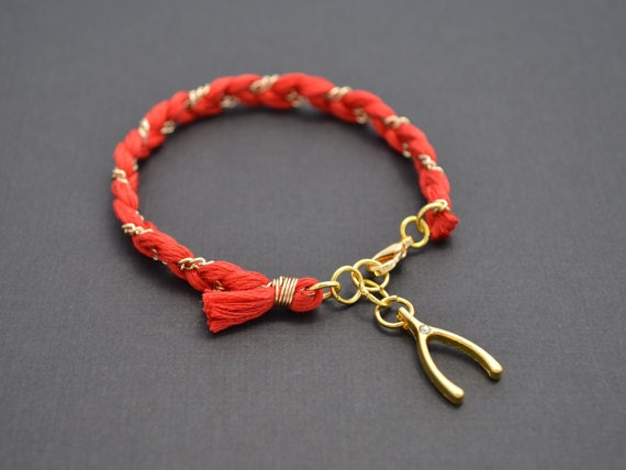 30% OFF,  Coral red cotton braid bracelet, Coral bracelet, Friends bracelet, Wishbone bracelet, Lucky bracelet,Gold bracelet,Charm bracelet