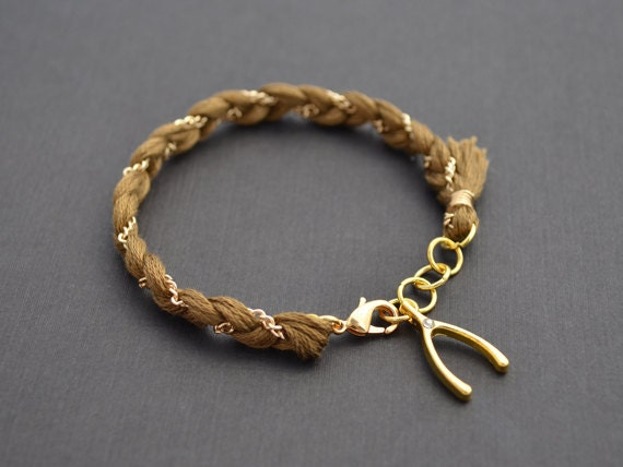 10% OFF,Coffee Brown Color bracelet,Cotton bracelet,Gold bracelet,Wishbone bracelet,Friendship bracelet,Personalized bracelet,Charmbracelet