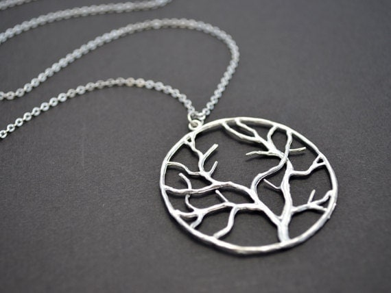 SALE, Pendant Necklace, Long necklace, Tree necklace, Family necklace, Mother's Day Gift, Silver necklace, Moon necklace, Christmas gift