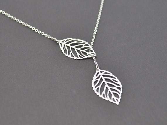 40% OFF, Modern leaf necklace, Lariat necklace, Silver necklace, Statement necklace, Bridal necklace,Mother's Day Gift,Christmas gift,Silver