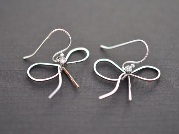 SALE - Cute Ribbon with CZ Silver Earrings.