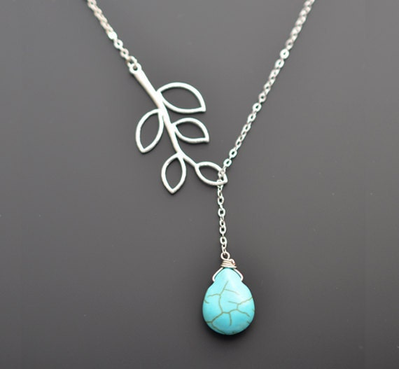 SALE,Turquoise necklace,Branch necklace,Silver necklace,Lariat necklace,Bridal necklace,Wedding necklace,Anniversary gift,Christmas Necklace