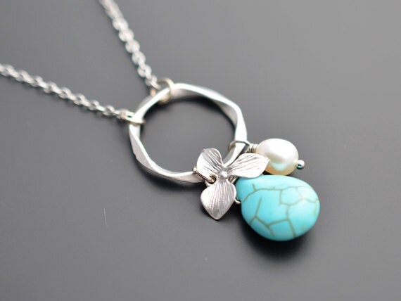 40% OFF, Turquoise necklace, Orchid necklace, Flower necklace, Pearl necklace, Silver Necklace,Wedding,Bridesmaid,Anniversary,Christmas gift