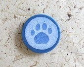 Snowy Paw Print - Painted Print Magnet