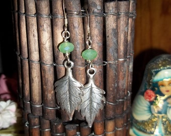 Sterling Silver Leaf earrings with green crystals