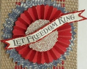 """4th of July """"Let Freedom Ring"""" Banner on Burlap Pennant - 4th of July - Red, White, Blue - Decoration"""