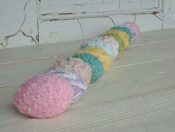 Easter Eggs - Spring Decoration in Pastel Vintage Chenille - Pink, Lavender,White,Aqua and yellow.