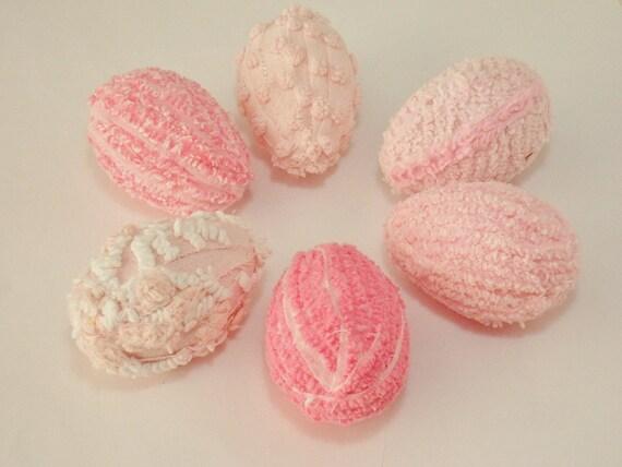 Spring / Easter Eggs - Vintage Pink Chenille - Decoration