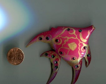 Pink Handpainted Wooden Fish Pin with Rhinestones