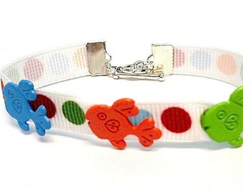 Fish Bracelet - Blue, Orange and Green - Ribbon - Children's
