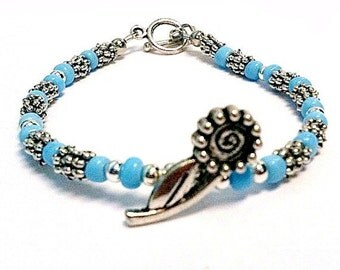 Children Blue Bracelet Silver Jewelry Flower Charm Jewellery Affordable Handmade Little Girl Pretty Seed Beads Stack Layer