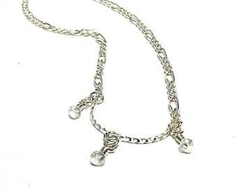 Children's Crystal Necklace Flower Girl necklace Silver Jewelry Chain Jewellery Wedding Feminine Dainty