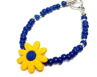 Children's Flower Bracelet Blue and Yellow Bracelet Daisy Bracelet Silver Jewelry Everyday Jewellery Fashion Seed Beads