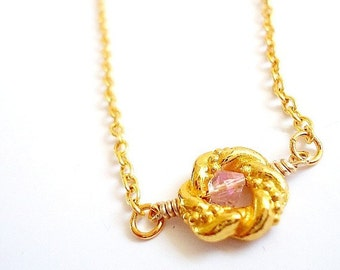 Children's Pink Necklace Birthstone Necklace Gold Chain Crystal Jewellery Jewelry